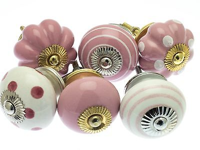 6 x Mixed Pinks & White Spots & Stripes Shabby Chic Ceramic Cupboard Door Knobs