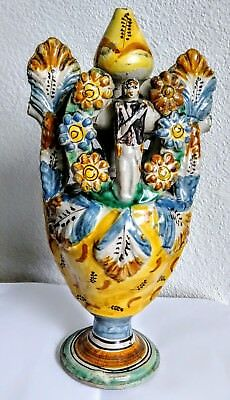 QUIMPER STYLE FRENCH NAPOLIANIC ERA TULIPIERE MEMORIAL VASE SOLDIERS Early 1800s