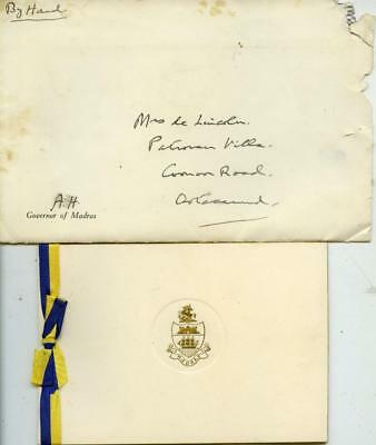 Madras India: Christmas Card From Governor Arthur Hope 1946 -Rare - Ref:2935 B15