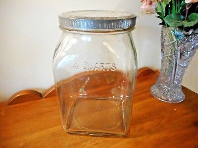 Vintage 4 Qt Embossed Depression Butter Churn Glass Jar