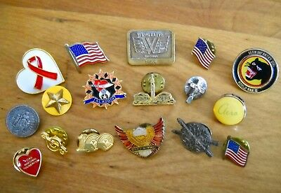 Vintage Collectible Pin Back Mixed Lot of 17 Patriotic, WWII, Harley Davidson +