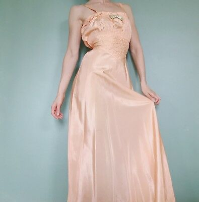 Vtg 1930s 40s Peach Pink Satin Nightgown Lingerie Art Deco Pin Up Old Hollywood