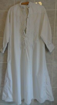 Antique original Victorian white linen nightdress lace detail