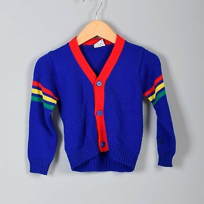 1970s Boys Cardigan Sweater Knit Button Up Blue Red Yellow Green Stripe VTG