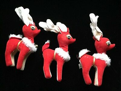 VINTAGE Made in Japan Velveteen Reindeer Red & Cream Set Of 3