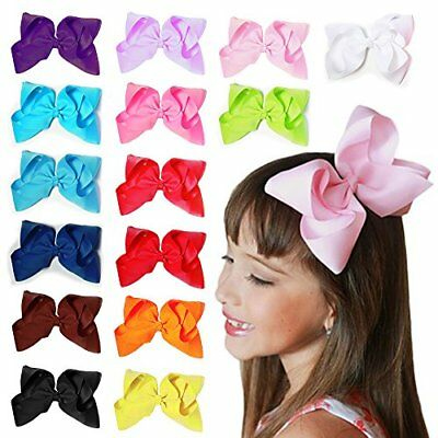 15 pc 6in Boutique Hair Bows Clips for Baby Girls Kids Teens Women Educational