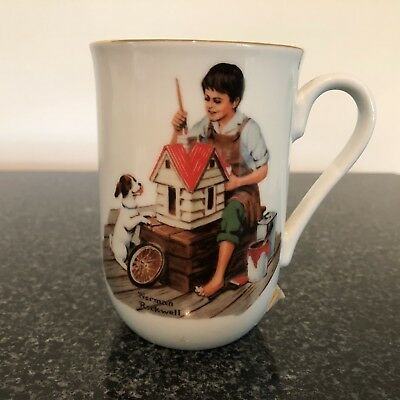 """Norman Rockwell """"A Dollhouse for Sis"""" 1982 Porcelain With Gold Trim Tea Cup"""