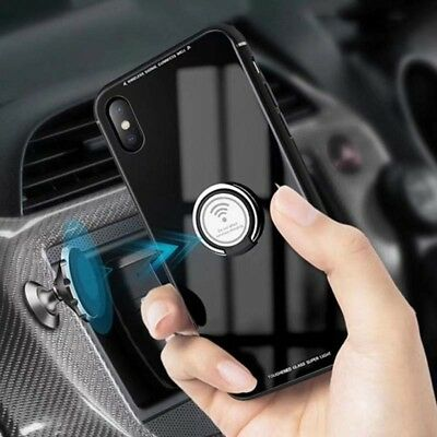 Magnetic With Ring Holder Tempered Glass Phone Case for iPhoneXS X 6 7 8Plus