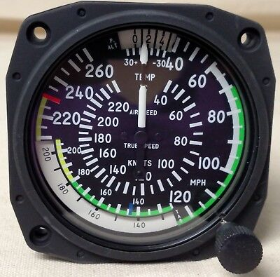 True Airspeed Indicator 260 mph / 220kts,  3-1/8, with color markings for RV10