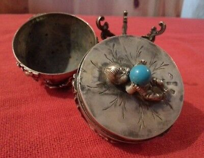 RUSSIAN SILVER EGG NATURAL STONES ELF POPPY FLOWERS & CAPSULES DECORATION 190 gr