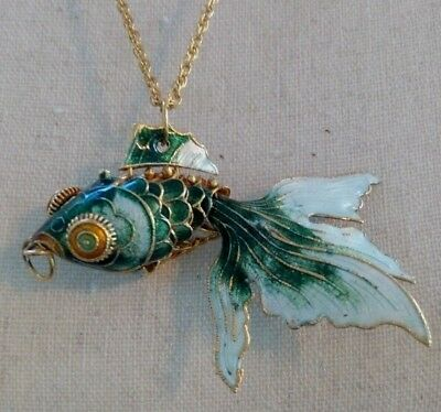 Vtg CHINESE ARTICULATED Cloisonne Enamel FISH MOVABLE PENDANT Silver w 10K Gold