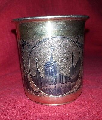 ANTIQUE RUSSIAN IMPERIAL SILVER GILT NIELLO BEAKER CUP VODKA SHOT  1841, 72.8 gr