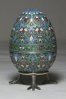 Antique Russian Imperial Silver 84 Cloisonne Enamel Easter Egg Khlebnikov Moscow