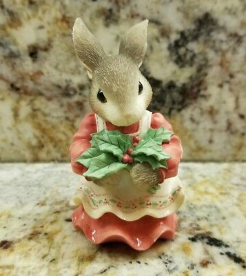 Enesco My Blushing Bunnies Have A Berry Happy Holly-Day Figure 1998