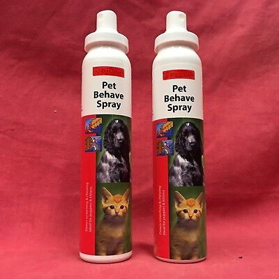2 Pet Behave Sprays Dog Puppy Cat Kitten Anti Chew & Anti Scratch 125ml Training