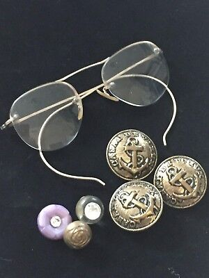 Pair of Vintage Eyeglasses and Six Vintage Buttons