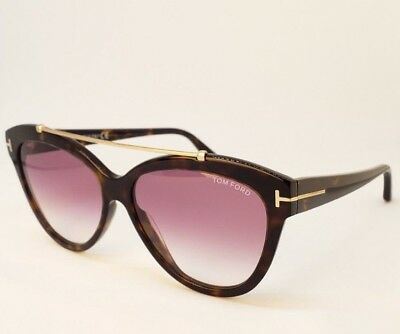 bd1e3ab394 Tom Ford Sunglasses Women Cat eye Dark Tortoise LIVIA TF 518 52Z Size (58-