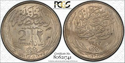 Egypt 1917-H 2 Piastres  KM- 317.2, Unc  PCGS MS 63  Nice Silver coin !!