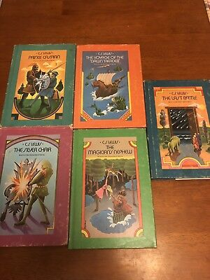 Lot Of 5 Chronicles Of Narnia Hardcover Books, 1950s, With Dust Jackets, Lewis