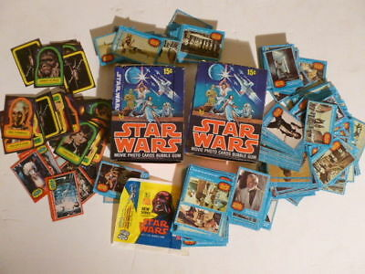 1977 Star Wars Bubble Gum Movie Photo Trading Card Lot w/ Stickers & Packaging!