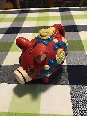 Vintage Hand Painted Red Pig With Flowers Ceramic Piggy Bank A97