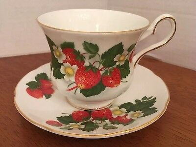 Royal Grafton Strawberry Bone China Footed Tea Cup and Saucer England