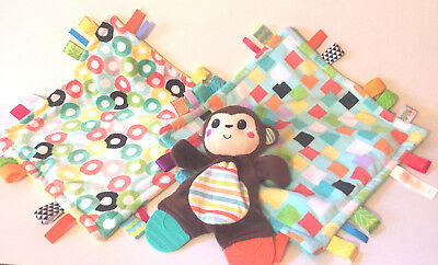 Bright Starts Taggies Set of 3 Baby Soothing Teether Soft Plush Buddy Snuggle