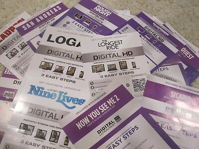 Digital & HD Movie Codes - Action / Adventure / Science Fiction Collection