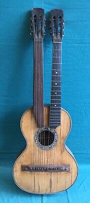 Vintage Harp Guitar Rosewood Double-Neck Antique Guitar for restoration