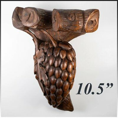 Unique Antique Hand Carved Wood Wall Mount Shelf, Bracket, is Cluster of Fruit