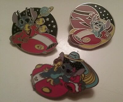 Disney Pin Trading Set of 3 Stitch in Space Cast Lanyard Pins