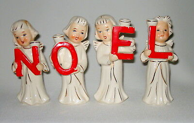 4 Sweet Vintage Christmas Angel Figurines Candle Holders - Decorations With Box