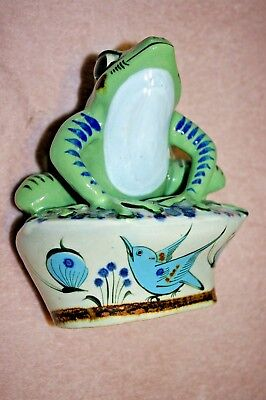 "POND OR  Garden DECORATIVE  Ceramic 7""  Frog Statue  WITH A BLUE BIRD"
