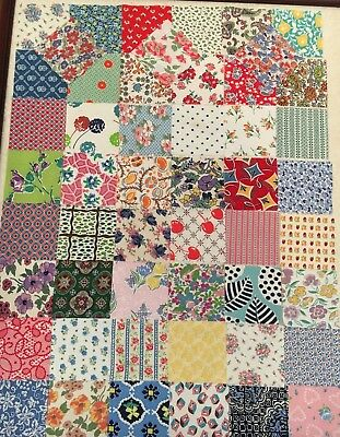 Vintage Feed Sack Squares 4 inch.  50 Feedsack squares - all Different.