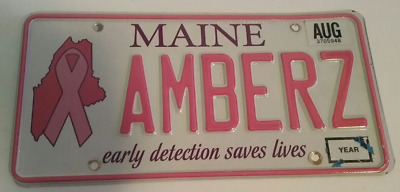 """Maine """"Early Detection Saves Lives"""" Breast Cancer Awareness Vanity Plate""""AMBERZ"""""""