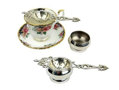 Vintage 2 Pce Silver Plate Tea Leaf Strainer w Drip Bowl Silverplate Collectable