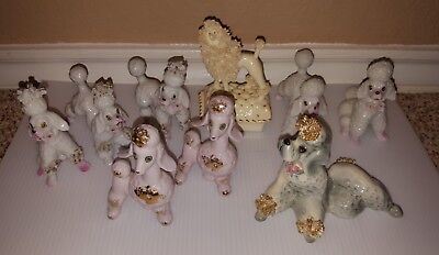 Vintage 1950s White and Pink Spaghetti Poodle Lot of 9 Japan Gold Floral Collars