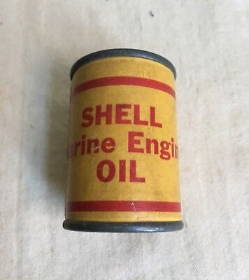 Vintage Miniature Shell Marine Engine Oil Can Advertising Tin with LOGO