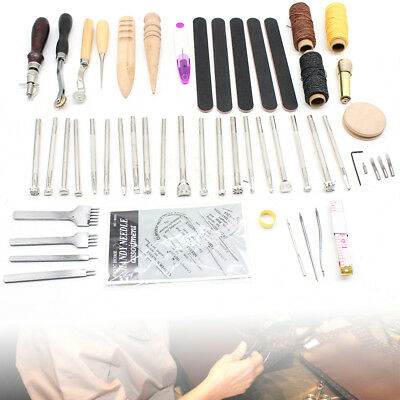 59 Leder Werkzeug Leather Craft Hand Sewing Stitching Groover Tool Kit DE DHL