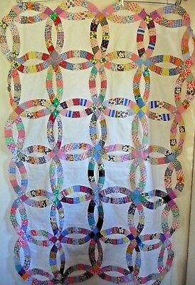 Vintage Double Wedding Ring Quilt Top 1940-50's Cotton Prints