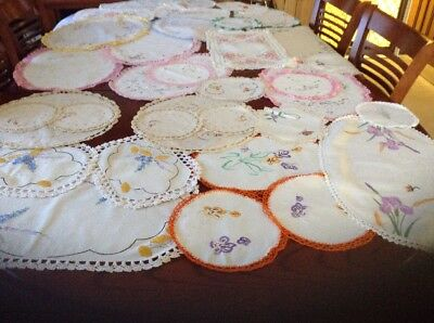 Bulk Lot Of Embroidered Large & Small  Doilies Machine And Hand Embroidery.