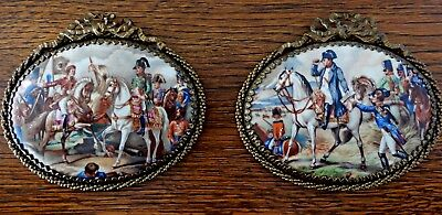 TWO ANTIQUE VERY RARE PLAQUES of NAPOLEON in BATTLES on Porcelain & Bronze Frame