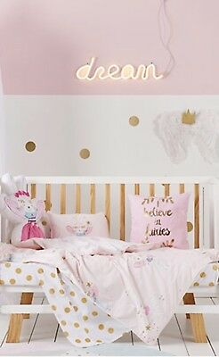 Adairs Kids Gorgeous Bunny Wishes Cot Quilt Duvet Cover Set NWT RRP $99.99