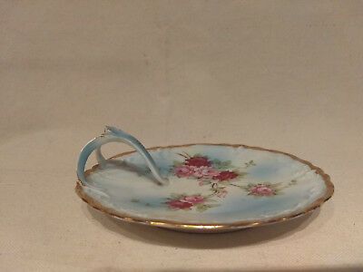 Weimar Germany NAPPY Hand Painted Porcelain ROSES Gold Trim Trinket Dish Tray