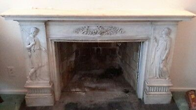 Antique  Marble 1920's Hand Carved Snake Bat Wing Fireplace Mantle