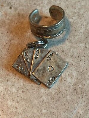 Vintage Antique Small Sterling Silver Ring with Sterling Aces Cards Dangle Charm