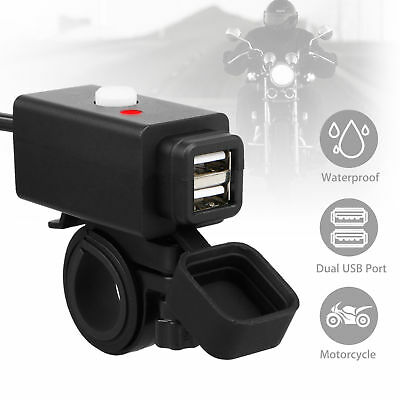 Waterproof Motorcycle 12V GPS Cigarette Lighter Phone USB Power Socket Charger