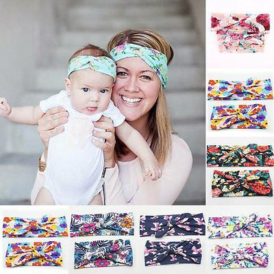 2pcs Womens Baby Girls Bow Flower Turban Hair Band Headwear Headband Accessories