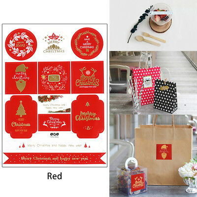 24X Christmas Gold Gift Paper Stickers Adhesive Gift Tags Scrapbooking Post A