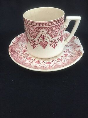 Vintage Antique French Tea Coffee Cup Saucer Red Pink Unusual Rare Shabby Chic
